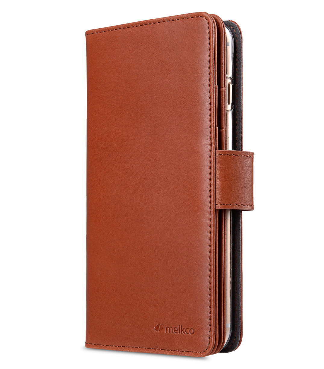 "Melkco Premium Leather Case for Apple iPhone 7 / 8 Plus(5.5"") - Wallet Plus Book Type (Orange Brown)"