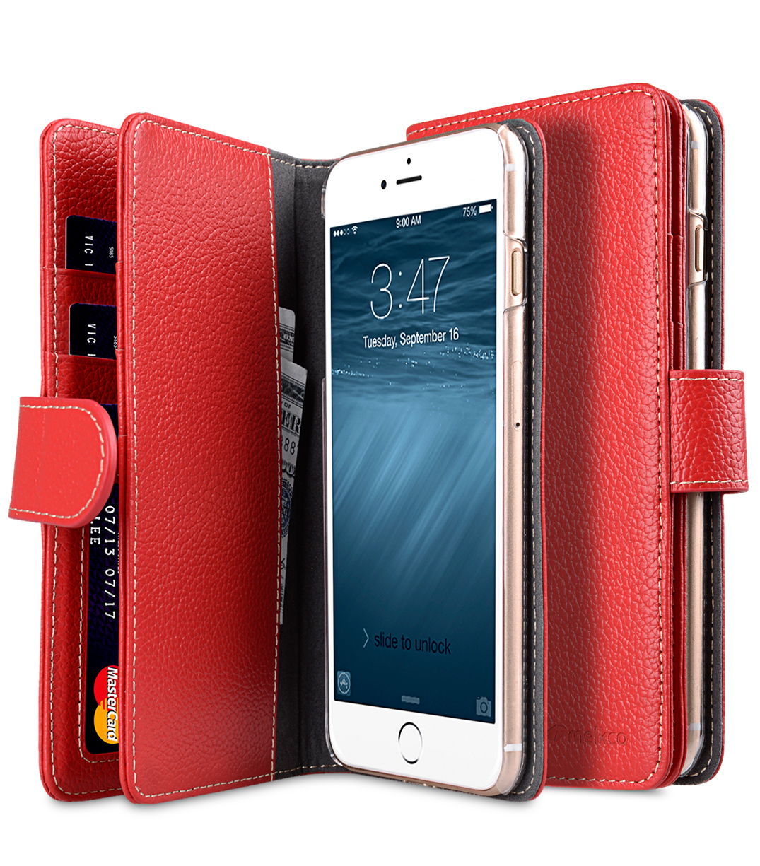 "Melkco Premium Leather Case for Apple iPhone 7 / 8 Plus(5.5"") - Wallet Plus Book Type (Red LC)"