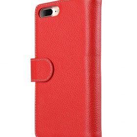 """Melkco Premium Leather Case for Apple iPhone 7 / 8 Plus(5.5"""") – Wallet Plus Book Type (Red LC)"""