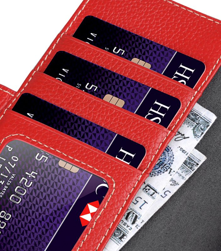 """Melkco Premium Leather Case for Apple iPhone 7 / 8 Plus(5.5"""") - Wallet Plus Book Type (Red LC)"""