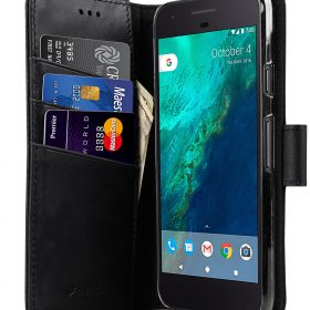 Melkco Premium Leather Case for Google Pixel – Wallet Book Type with Stand Function (Vintage Black)
