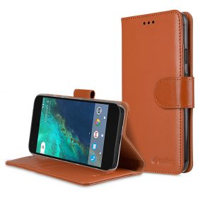 Melkco Premium Leather Case for Google Pixel – Wallet Book Type with Stand Function (Brown)