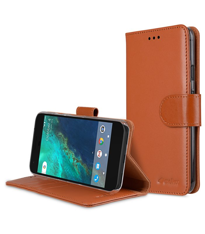 Melkco Premium Leather Case for Google Pixel - Wallet Book Type with Stand Function (Brown)