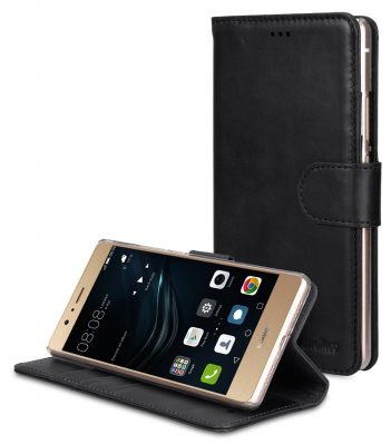 Melkco Premium Genuine Leather Case For Huawei P9 Lite - Wallet Book Type With Stand Function (Traditional Vintage Black)