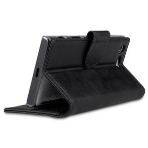 Melkco Premium Leather Case for Sony Xperia X Compact - Wallet Book Type with Stand Function (Vintage Black)
