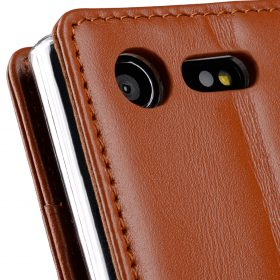 Melkco Premium Leather Case for Sony Xperia X Compact – Wallet Book Type with Stand Function (Brown)