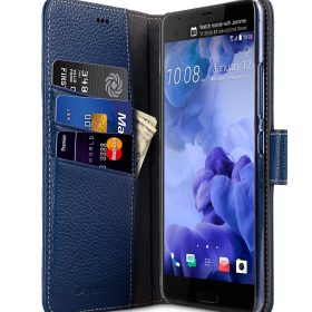 Melkco Premium Leather Case for HTC U Ultra – Wallet Book Clear Type Stand ( Dark Blue LC )
