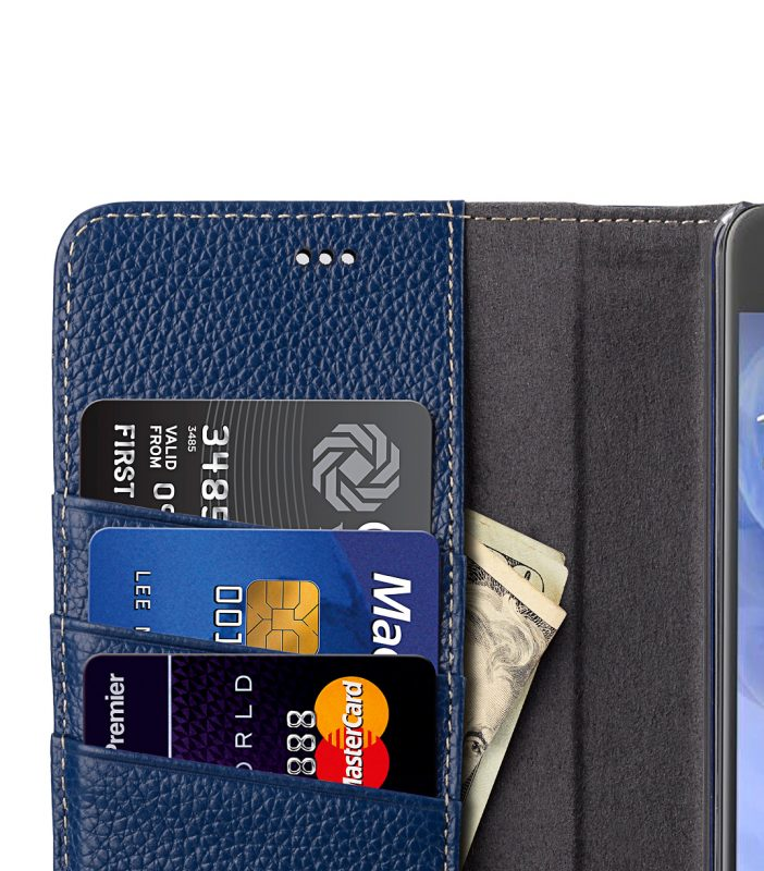 Melkco Premium Leather Case for HTC U Ultra - Wallet Book Clear Type Stand ( Dark Blue LC )