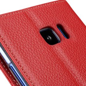 Melkco Premium Leather Case for HTC U Ultra – Wallet Book Clear Type Stand ( Red LC )