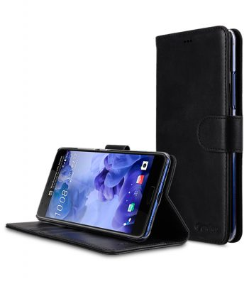 Melkco Premium Leather Case for HTC U Ultra - Wallet Book Clear Type Stand ( Vintage Black )