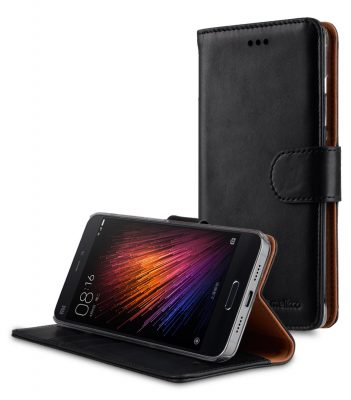 Melkco Premium Genuine Leather Case For Xiaomi Mi 5 - Wallet Book Type With Stand Function (Traditional Vintage Black)