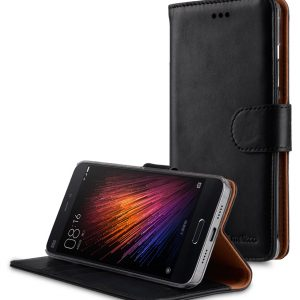 Premium Genuine Leather Case For Xiaomi Mi 5 - Wallet Book Type With Stand Function