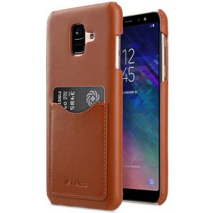 Premium Leather Card Slot Back Cover Case for Samsung Galaxy A6 (2018)