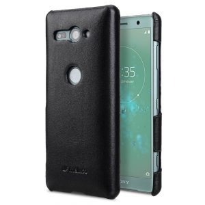 Premium Leather Snap Cover Case for Sony Xperia XZ2 Compact - (Black)