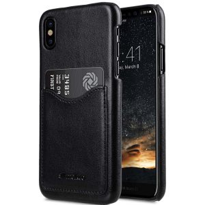 Mini PU Leather Card Slot Cover Case for Apple iPhone X - (Black)Ver.2