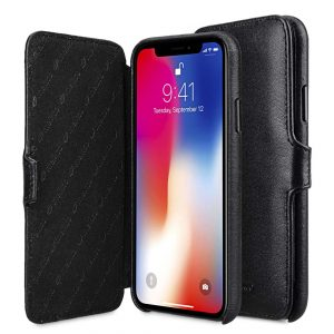 Melkco Elite Series Premium Leather Coaming Booka Pocket Case for Apple iPhone X - (Black)