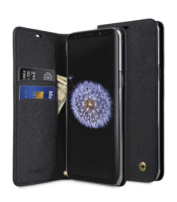 Melkco Fashion Cocktail Series Cross Pattern Premium Leather Slim Flip Type Case for Samsung Galaxy S9 - ( Black CP )