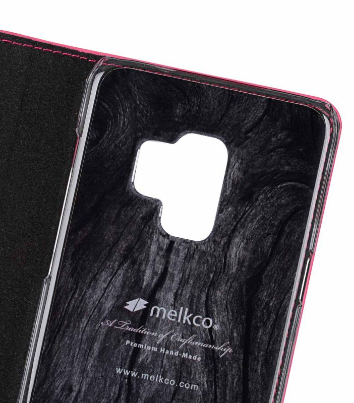 Melkco Fashion Cocktail Series Cross Pattern Premium Leather Slim Flip Type Case for Samsung Galaxy S9 - ( Peach CP )
