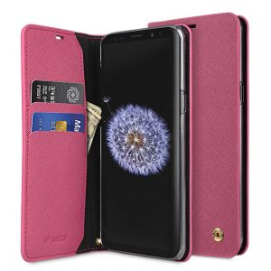 Melkco Fashion Cocktail Series Cross Pattern Premium Leather Slim Flip Type Case for Samsung Galaxy S9 Plus - (Peach CP)