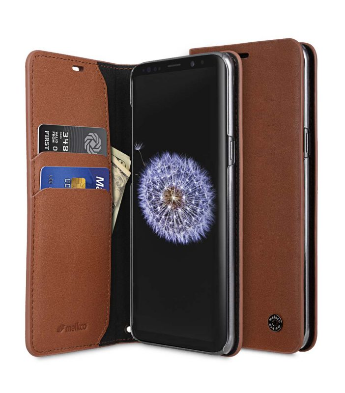 Melkco Fashion Cocktail Series Premium Leather Slim Flip Type Case for Samsung Galaxy S9 - ( Orange Brown )
