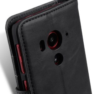 Melkco Mini PU Leather Case for HTC Butterfly 3 - Wallet-Stand Book Type (Black CH)