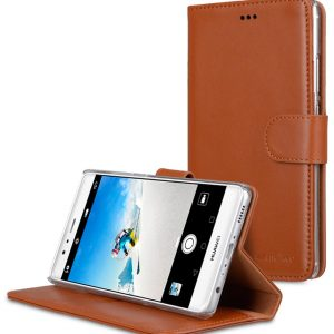Premium Genuine Leather Case for Huawei P9 Plus - Wallet Book Type With Stand Function