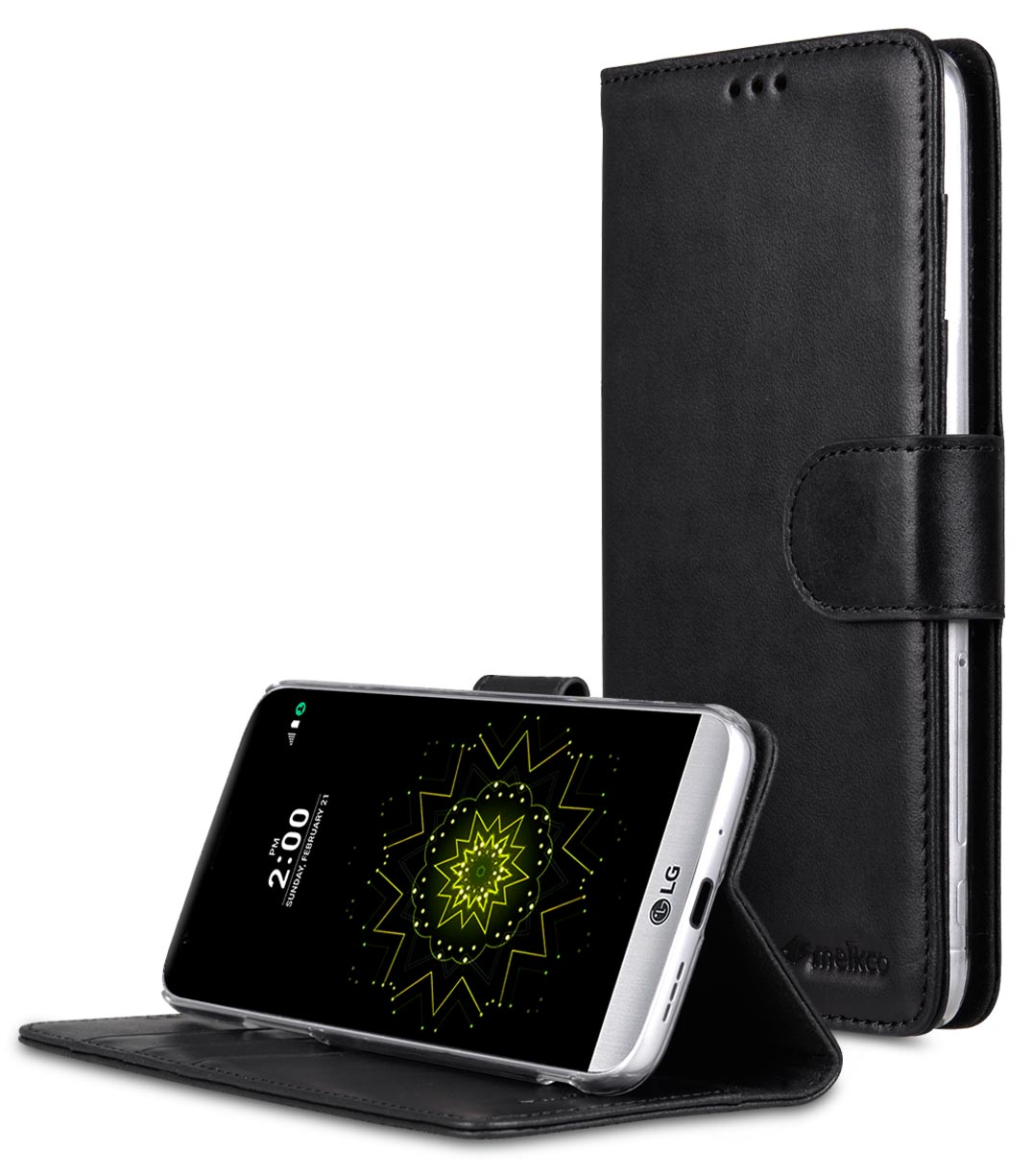 best service a1e5c 3b950 Premium Genuine Leather Case For LG G5 - Wallet Book Type With Stand  Function