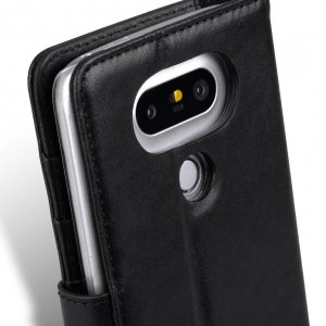 Melkco Premium Genuine Leather Case For LG G5 - Wallet Book Type With Stand Function (Traditional Vintage Black)