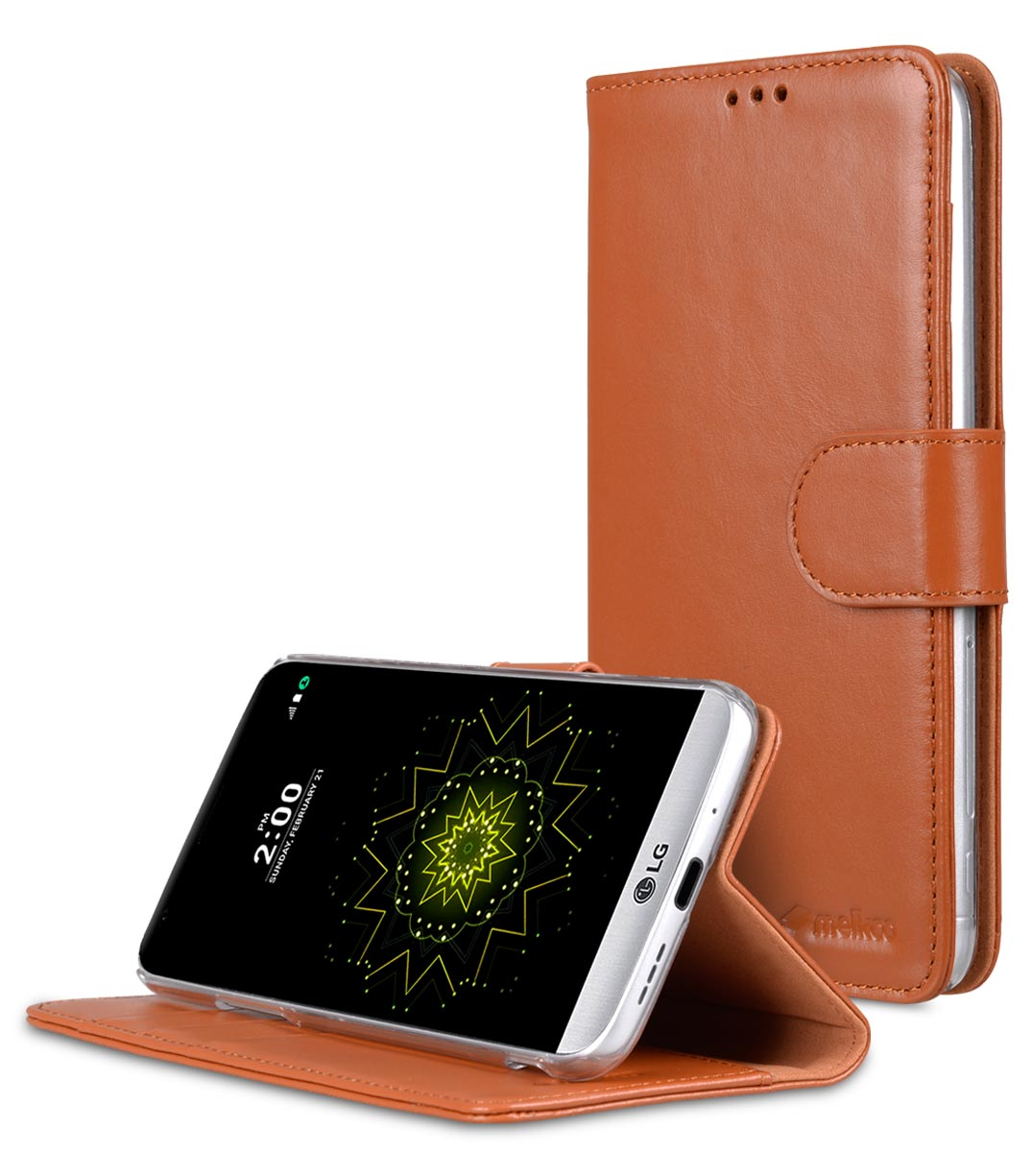 Melkco Premium Genuine Leather Case For LG G5 - Wallet Book Type With Stand Function (Traditional Vintage Brown)