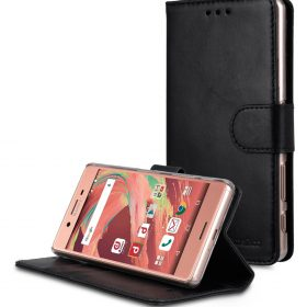 Premium Genuine Leather Case For Sony Xperia X - Wallet Book Type With Stand Function (Traditional Vintage Black)