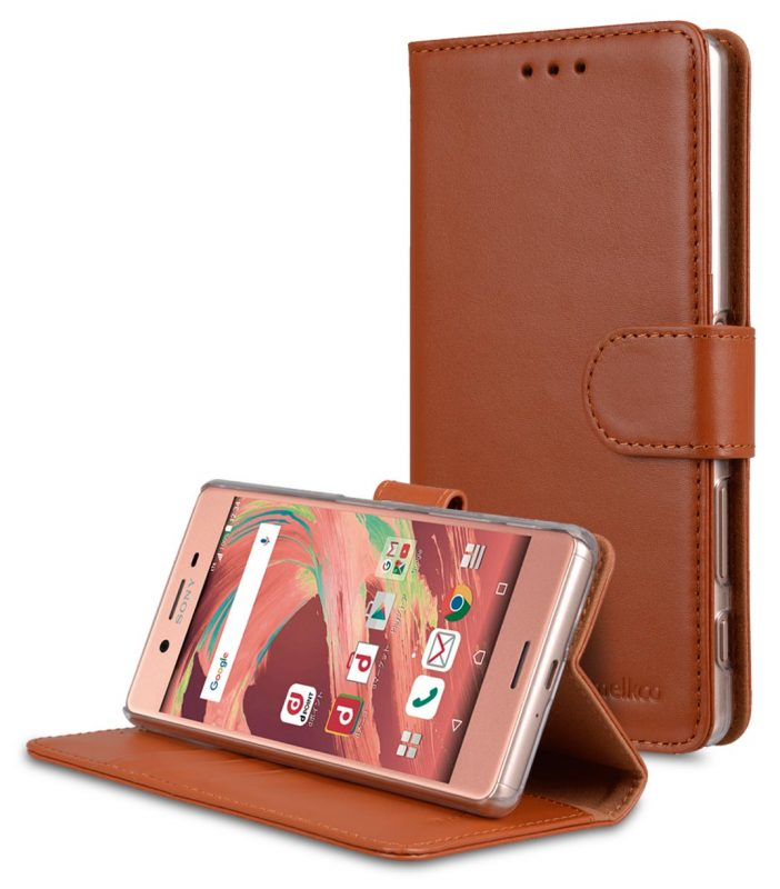 Melkco Premium Genuine Leather Case For Sony Xperia X - Wallet Book Type With Stand Function (Traditional Vintage Brown)
