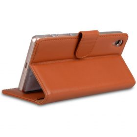 Melkco Premium Genuine Leather Case For Sony Xperia X – Wallet Book Type With Stand Function (Traditional Vintage Brown)