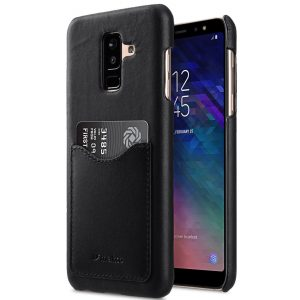 Melkco Premium Leather Card Slot Back Cover Case for Samsung Galaxy A6 Plus (2018) - (Black)Ver.2