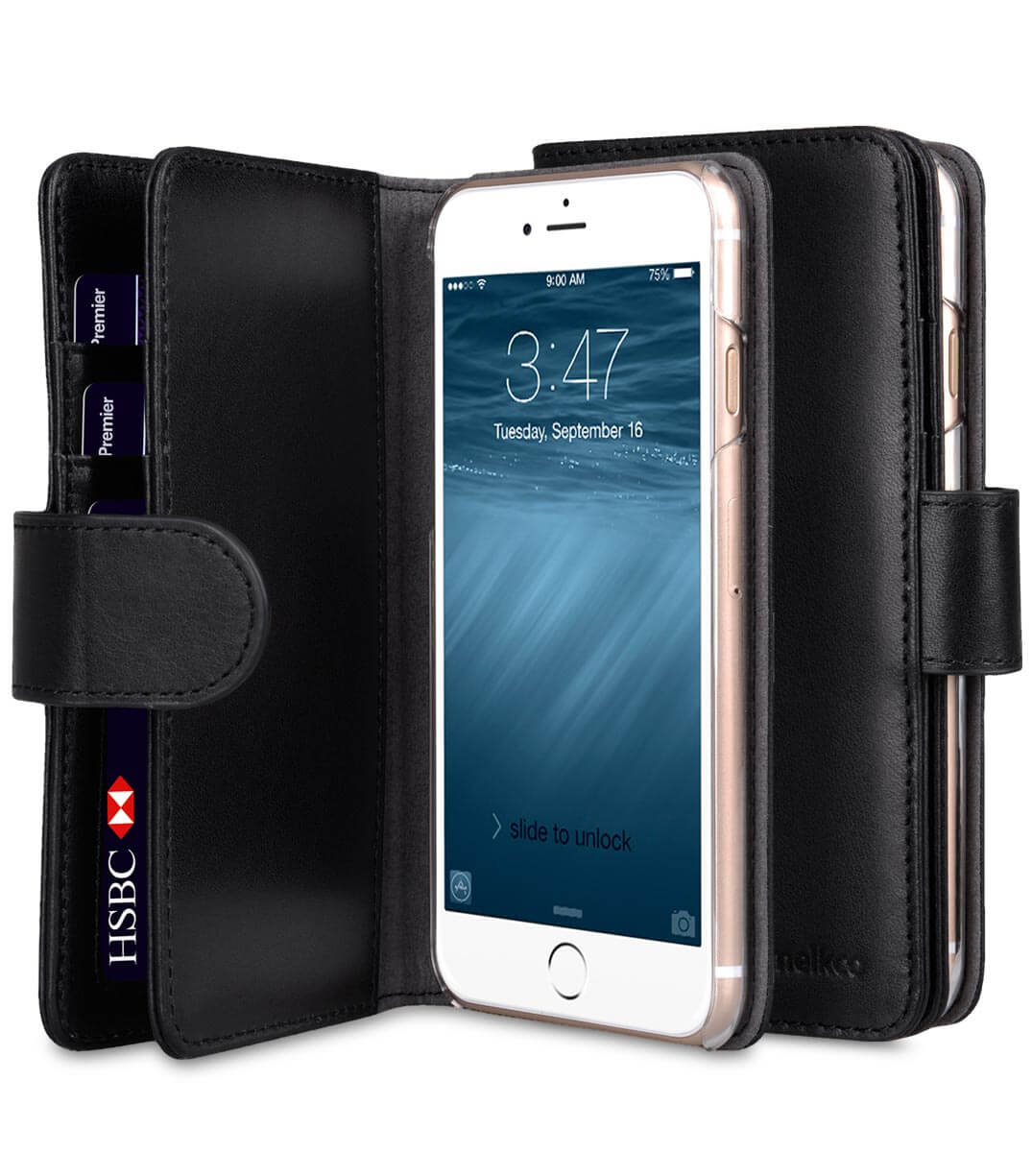 """Premium Leather Case for Apple iPhone 7 / 8 (4.7"""") - Wallet Plus Book Type"""