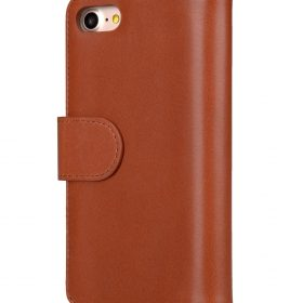 "Melkco Premium Leather Case for Apple iPhone 7 / 8 (4.7"") – Wallet Plus Book Type (Orange Brown)"