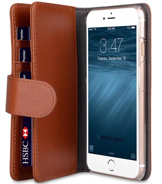 "Melkco Premium Leather Case for Apple iPhone 7 / 8 (4.7"") - Wallet Plus Book Type (Orange Brown)"