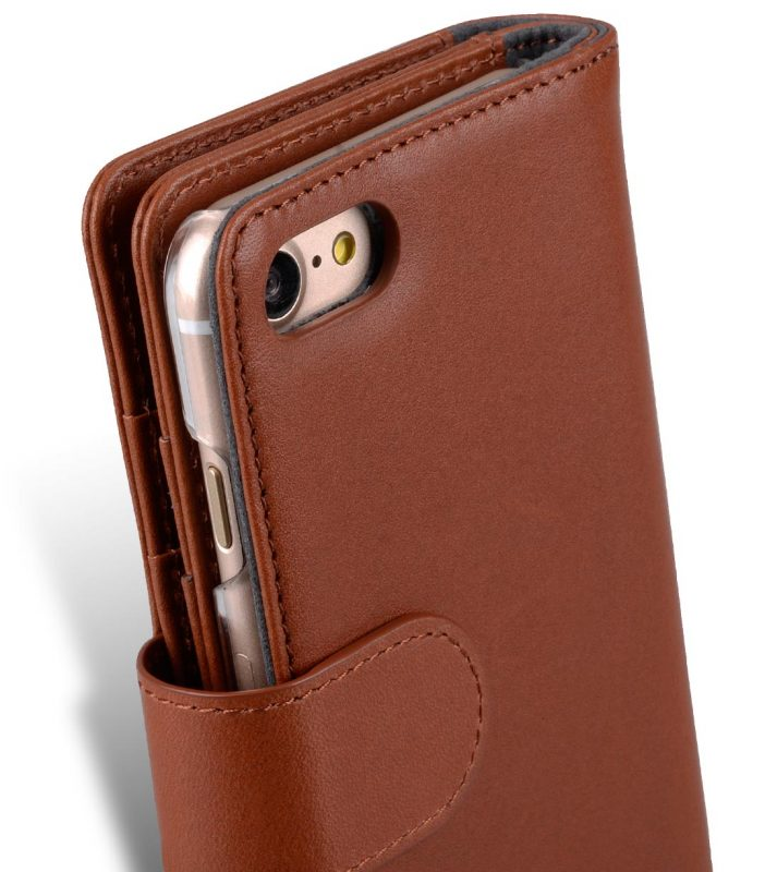 "Melkco Premium Leather Case for Apple iPhone 7 / 8 (4.7"") - Wallet Plus Book Type (Orange Brown)"