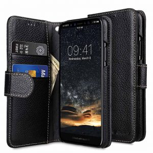 Melkco Premium Leather Case for Apple iPhone X - Wallet Book Type (Black LC) Ver.7