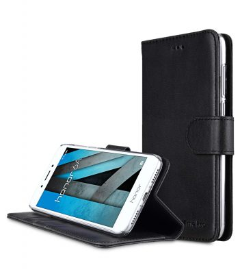 Melkco Premium Leather Case for Huawei Honor 6A - Wallet Book Clear Type Stand (Vintage Black)