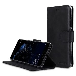 Melkco Premium Leather Case for Huawei P10 - Wallet Book Clear Type Stand ( Vintage Black )