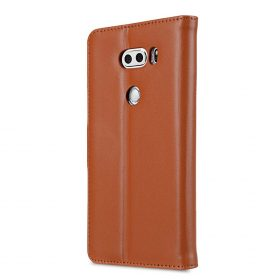 Melkco Premium Leather Case for LG V30 – Wallet Book Clear Type Stand (Brown CH)