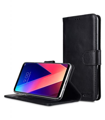 Melkco Premium Leather Case for LG V30 - Wallet Book Clear Type Stand (Vintage Black)