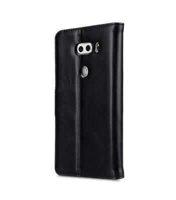 Melkco Premium Leather Case for LG V30 - Wallet Book Clear Type Stand (Vintage Black)