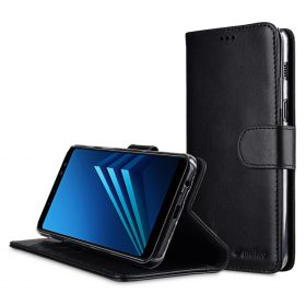 Melkco Premium Leather  Case for Samsung Galaxy A8 (2018) – Wallet Book Clear Type Stand (Black)