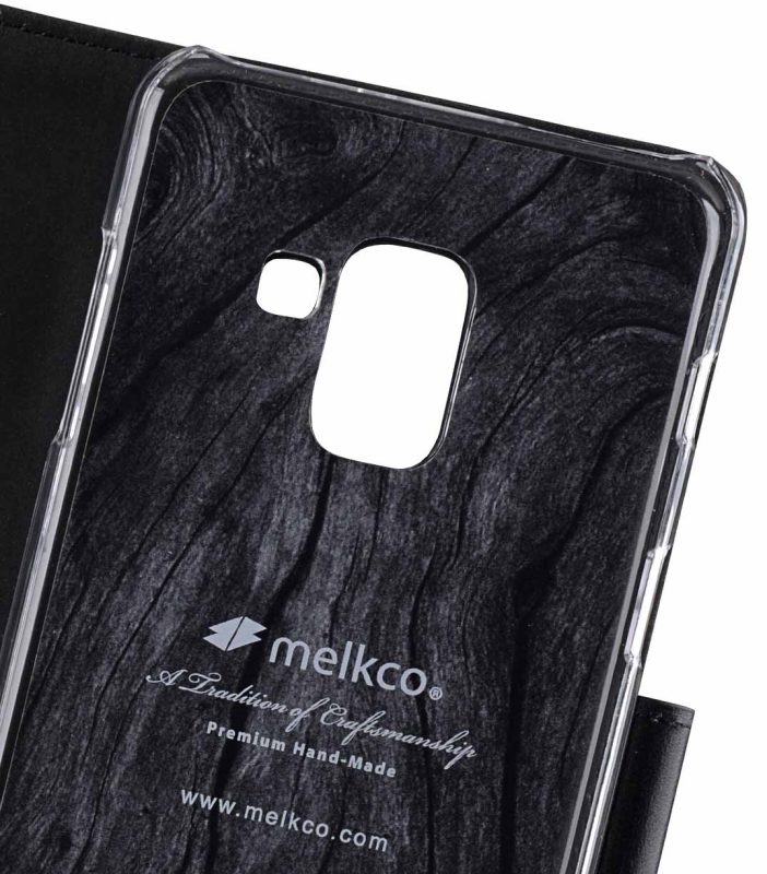 Melkco Premium Leather Case for Samsung Galaxy A8 (2018) - Wallet Book Clear Type Stand (Black)