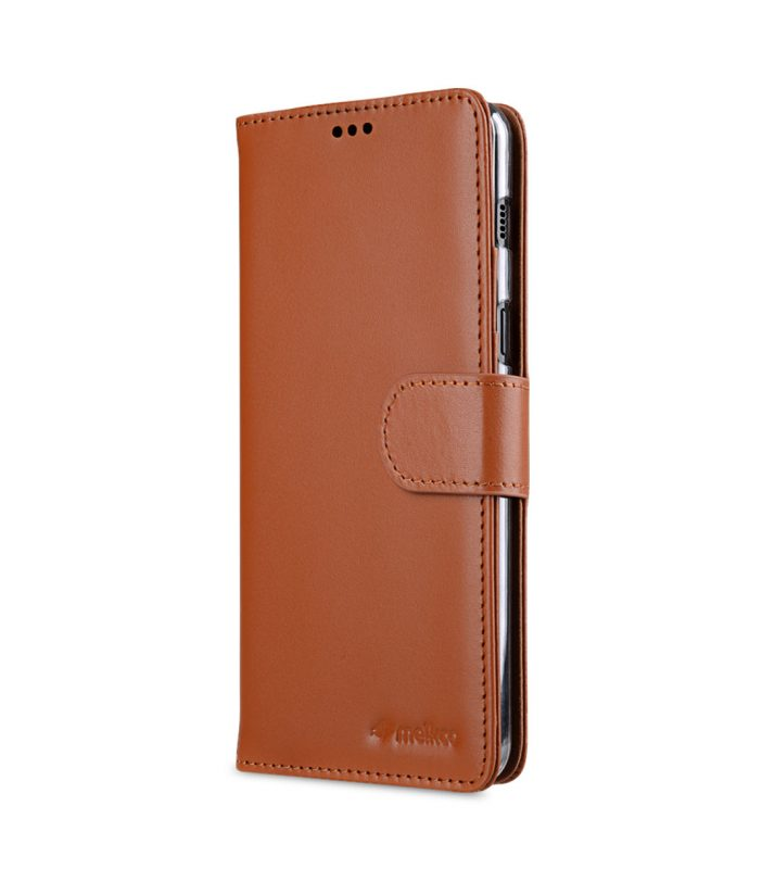 Melkco Premium Leather Case for Samsung Galaxy A8 (2018) - Wallet Book Clear Type Stand (Brown CH)