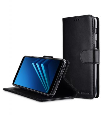 Melkco Premium Leather Case for Samsung Galaxy A8 Plus (2018) - Wallet Book Clear Type Stand (Black)