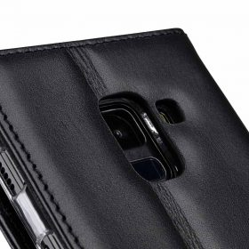 Melkco Premium Leather Case for Samsung Galaxy A8 Plus (2018) – Wallet Book Clear Type Stand (Black)