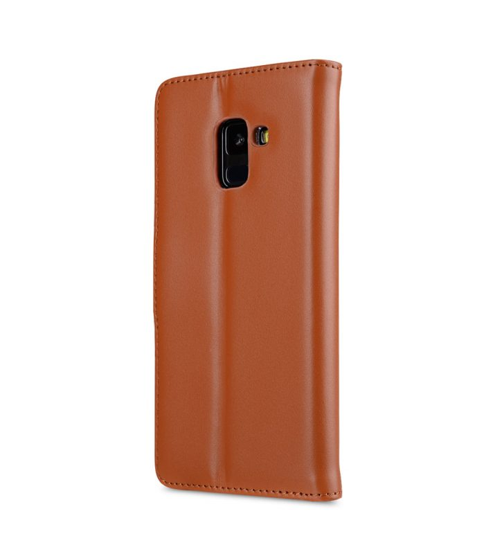 Melkco Premium Leather Case for Samsung Galaxy A8 Plus (2018) - Wallet Book Clear Type Stand (Brown CH)