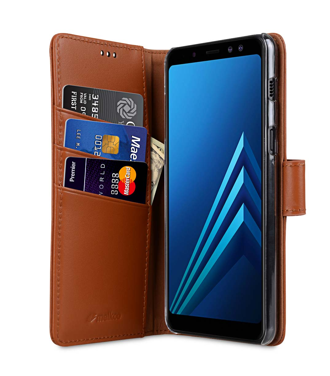separation shoes a740a 746d3 Premium Leather Case for Samsung Galaxy A8 Plus (2018) - Wallet Book Clear  Type Stand